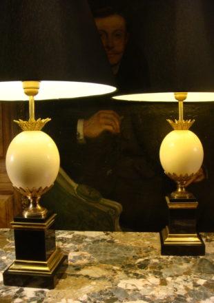 PAIRE DE LAMPES ANANAS DECOR OEUF AUTRUCHE