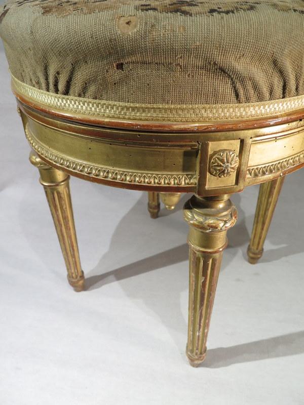 ancien superbe tabouret de piano bois dore de style louis xvi napoleon iii ebay. Black Bedroom Furniture Sets. Home Design Ideas