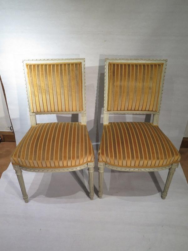 Ancienne jolie paire de chaises de chambre bois sculpte laque de style louis xvi ebay - Style chaises anciennes ...